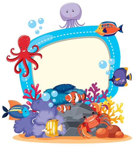 Border template with cute sea animals.