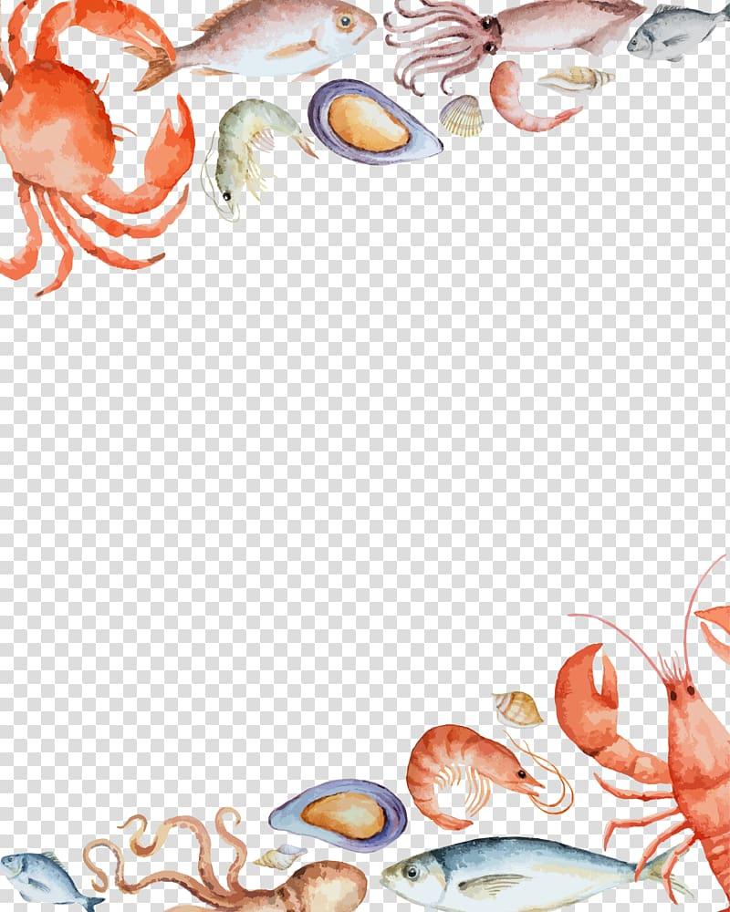 Red crab illustration, Seafood Crab, seafood border.