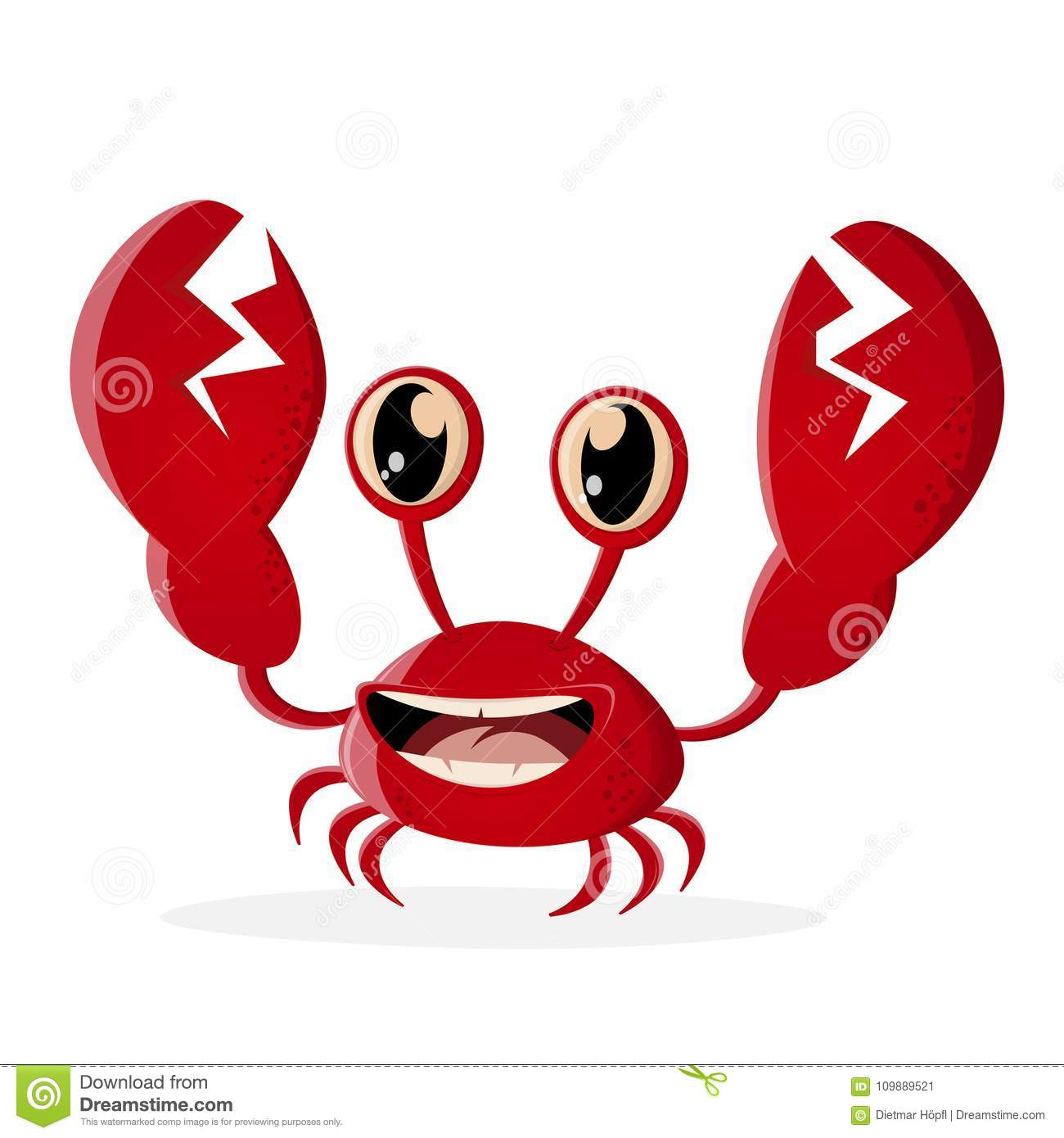 Funny crab clipart stock vector. Illustration of retro.