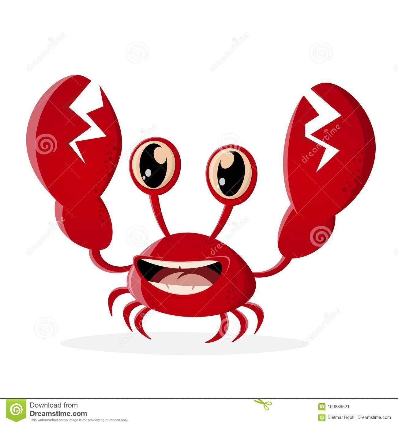Funny crab clipart stock vector. Illustration of retro.