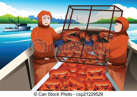 Vector Illustration of Crab fishermen catching crabs in the sea.