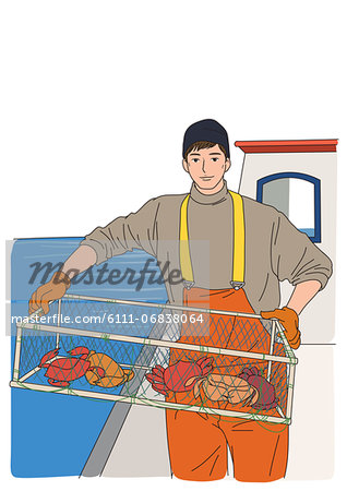 Pictures of crab fisherman at seas Stock Photos.