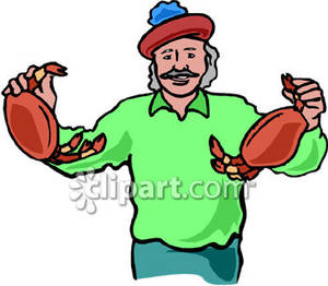 Fisherman Holding Two Crabs.