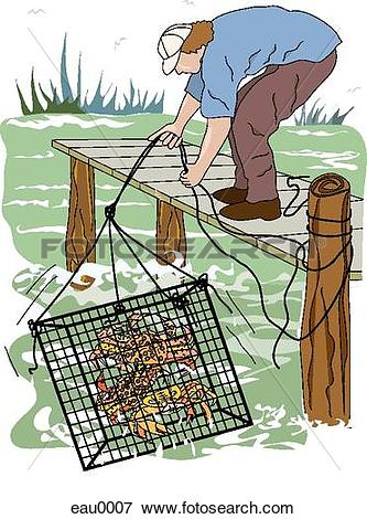 Stock Illustration of A man practicing crab trapping eau0007.