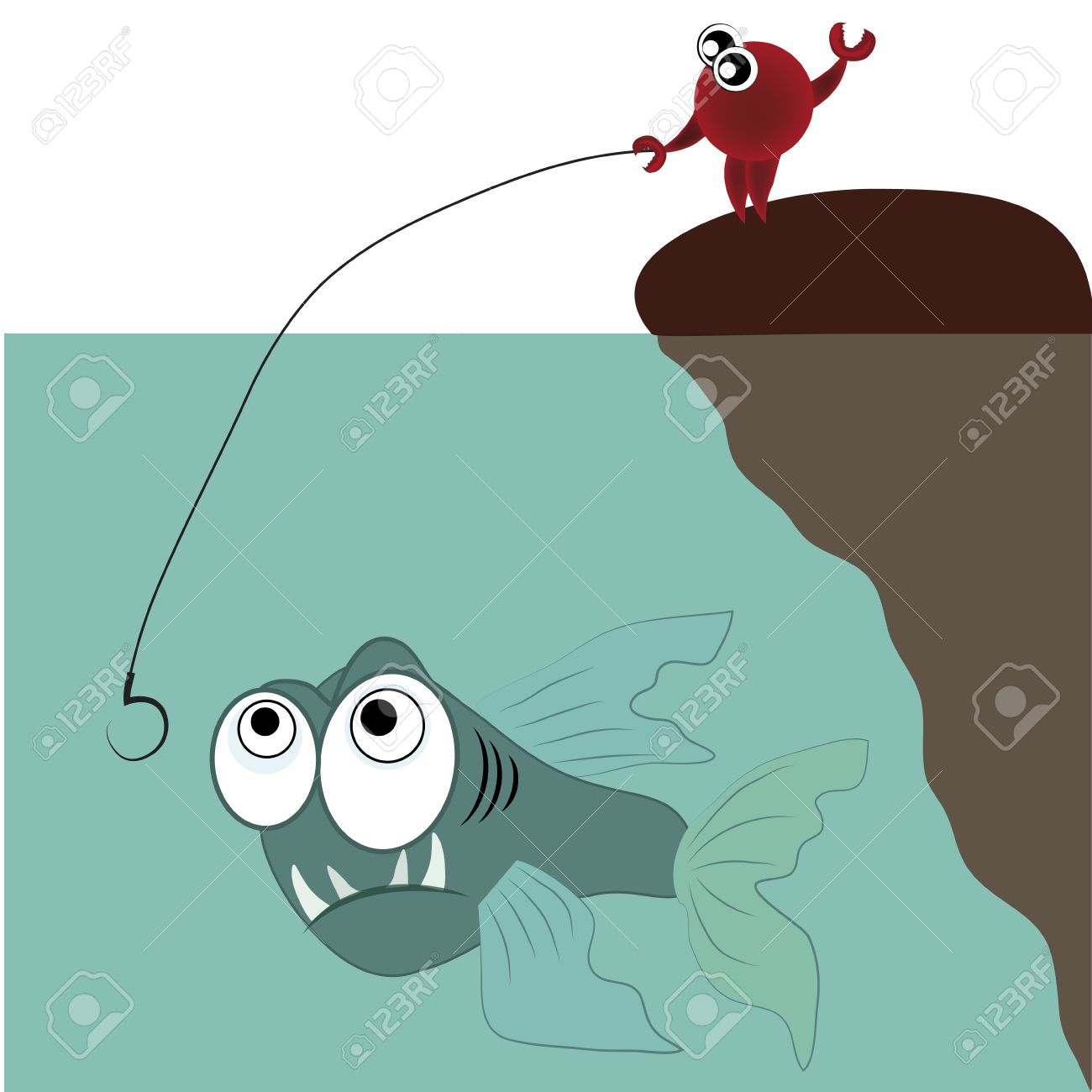 A Crab Fishing An Angry Fish In The Ocean Royalty Free Cliparts.