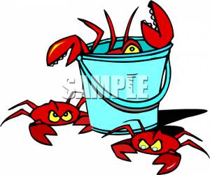 Free Clipart Image: A Bucket of Crabs.