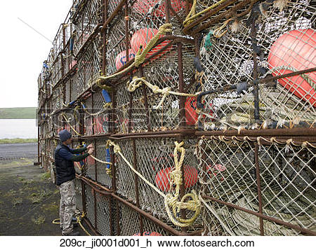 Stock Photo of Crab fishing gear being put up for storage, St.