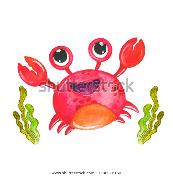 Isolated Cute Watercolor Crab Clipart Red Stock Illustration 1336078160.