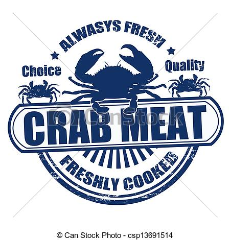 Vector Clip Art of Crab meat stamp.