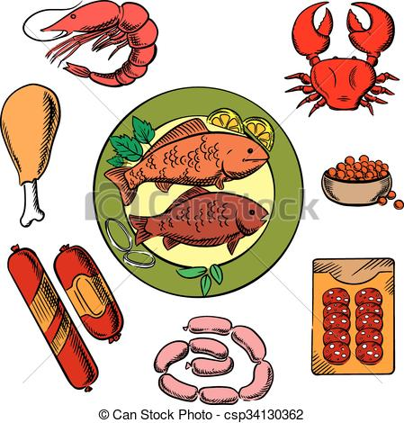 Clip Art Vector of Seafood, chicken and meat food icons with fish.