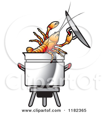 Clipart of a Crayfish in a Pot.