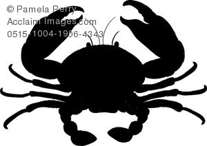 Clip Art Image of a Crab Silhouette.