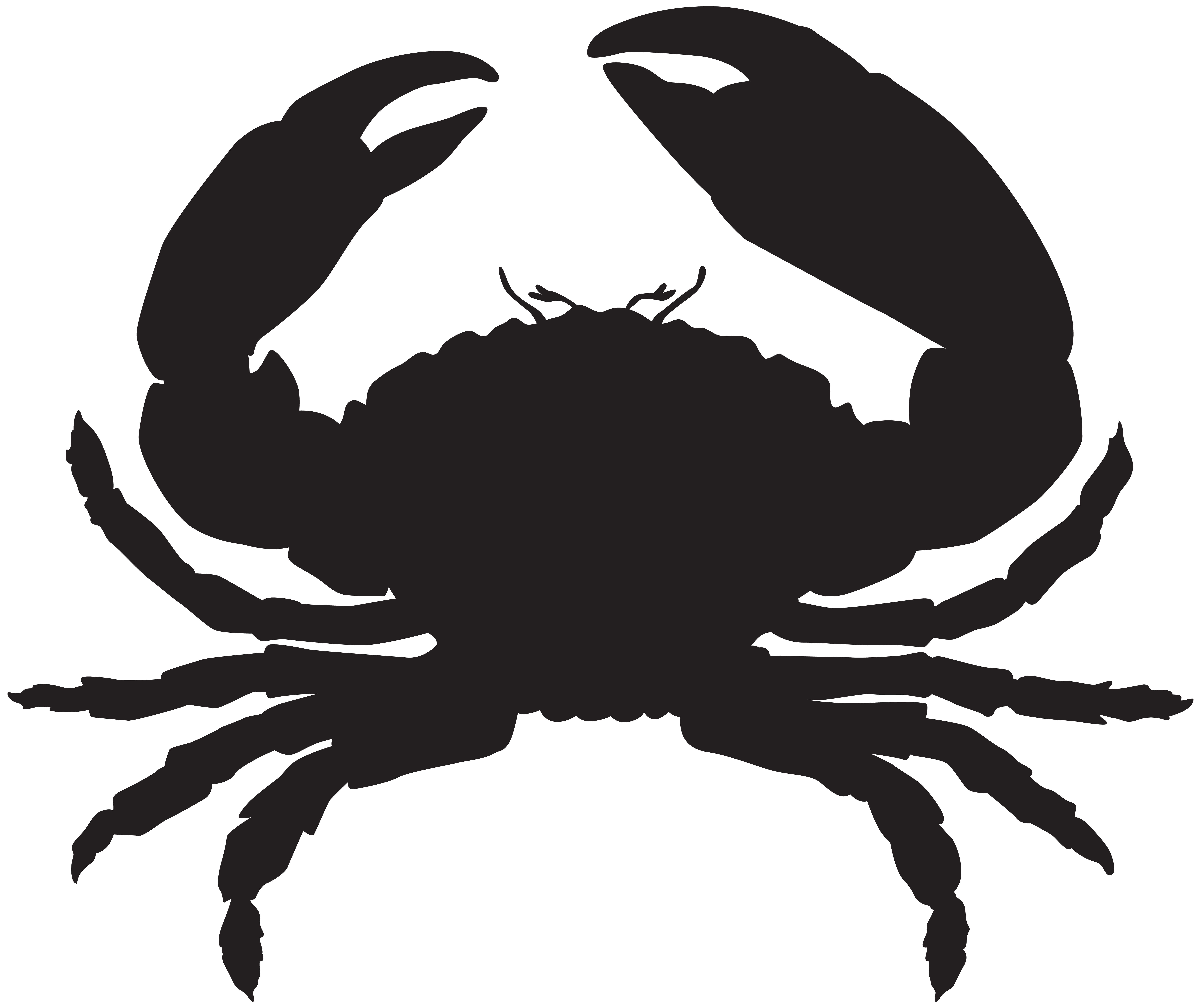 Crab Silhouette PNG Clip Art Image.
