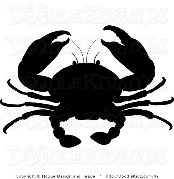 Clip Art Illustration of a Crab in Silhouette.