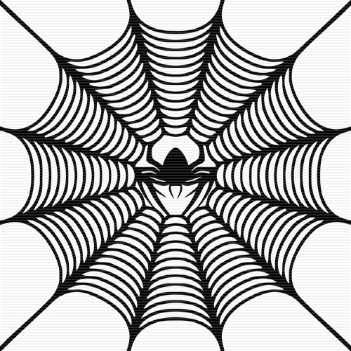 Spider in web clipart.