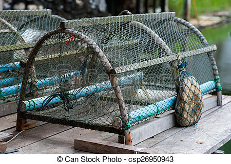 Stock Photo of Crab trap In Soft shell crab Farm csp26950943.