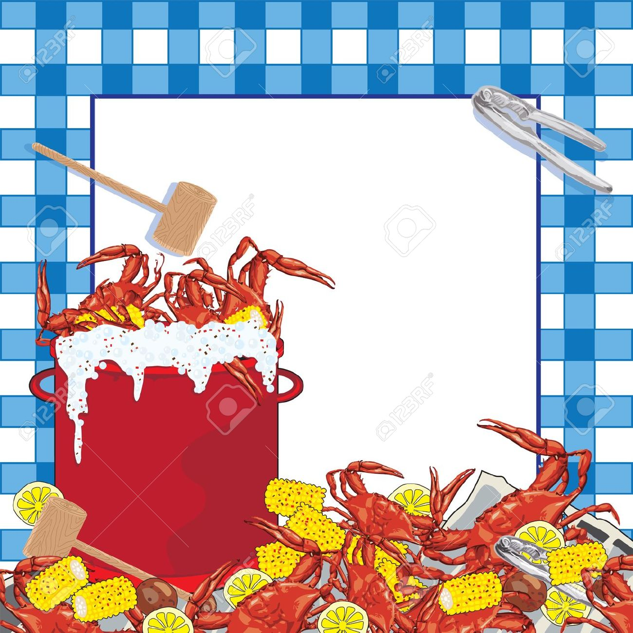 Crawfish in pot clipart.