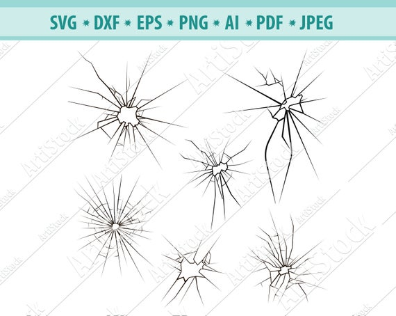 Cracked glass svg, broken glass svg, cracked clipart, svg files for cricut,  decal, clipart, sulhouette, dxf, png, vinyl, print, cut, eps.