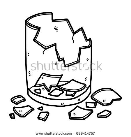 Broken Glass Clipart Black And White.