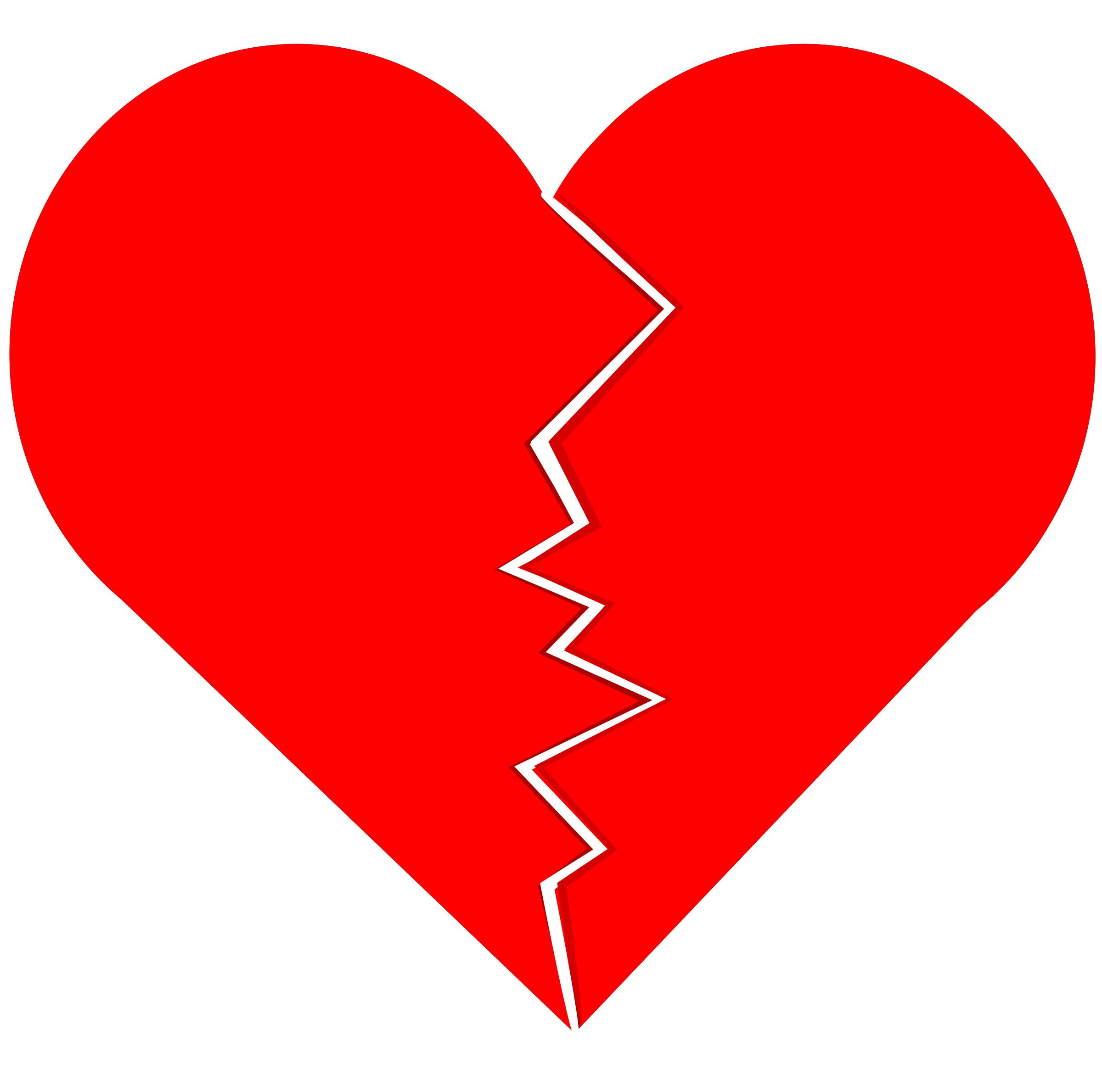 Cracked and Broken heart vector clipart image.