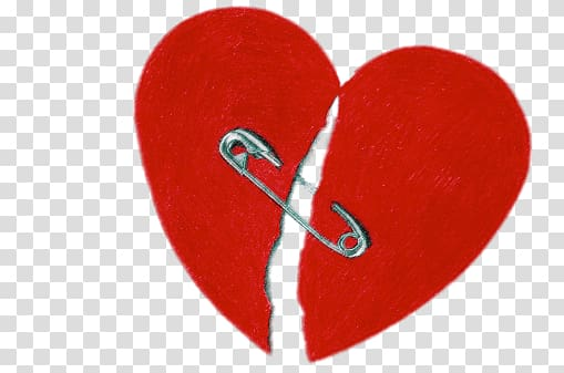 Heart with safety pin illustration, Broken Heart With Safety Pin.