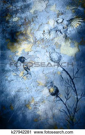 Clipart of Birds on crackle blue color background k27942281.