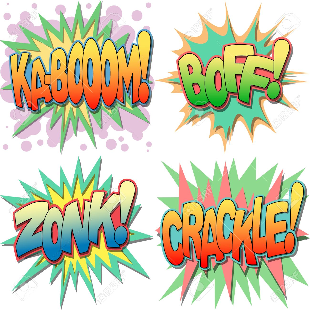 A Selection Of Comic Book Exclamations And Action Words, Kaboom.