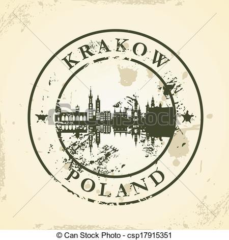 Clip Art Vector of Krakow skyline.
