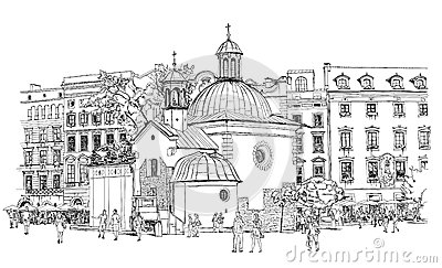 The Town Square In Krakow. Poland Stock Vector.