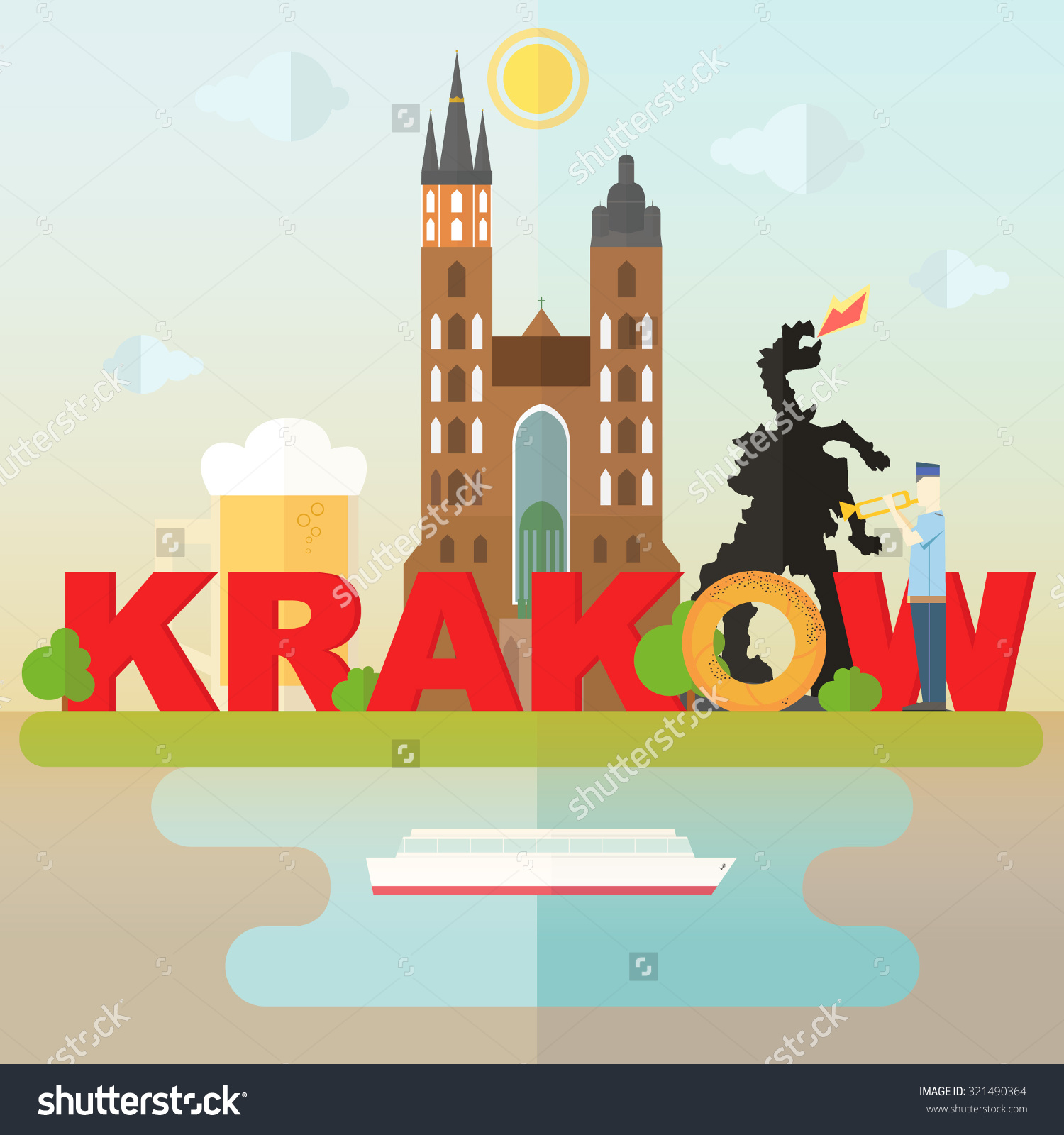 Most Famous Symbols Krakow Cathedral Beer Stock Vector 321490364.