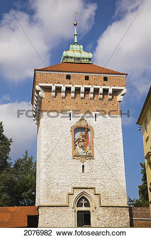 Stock Photo of Saint florian gate tower; cracow poland 2076982.