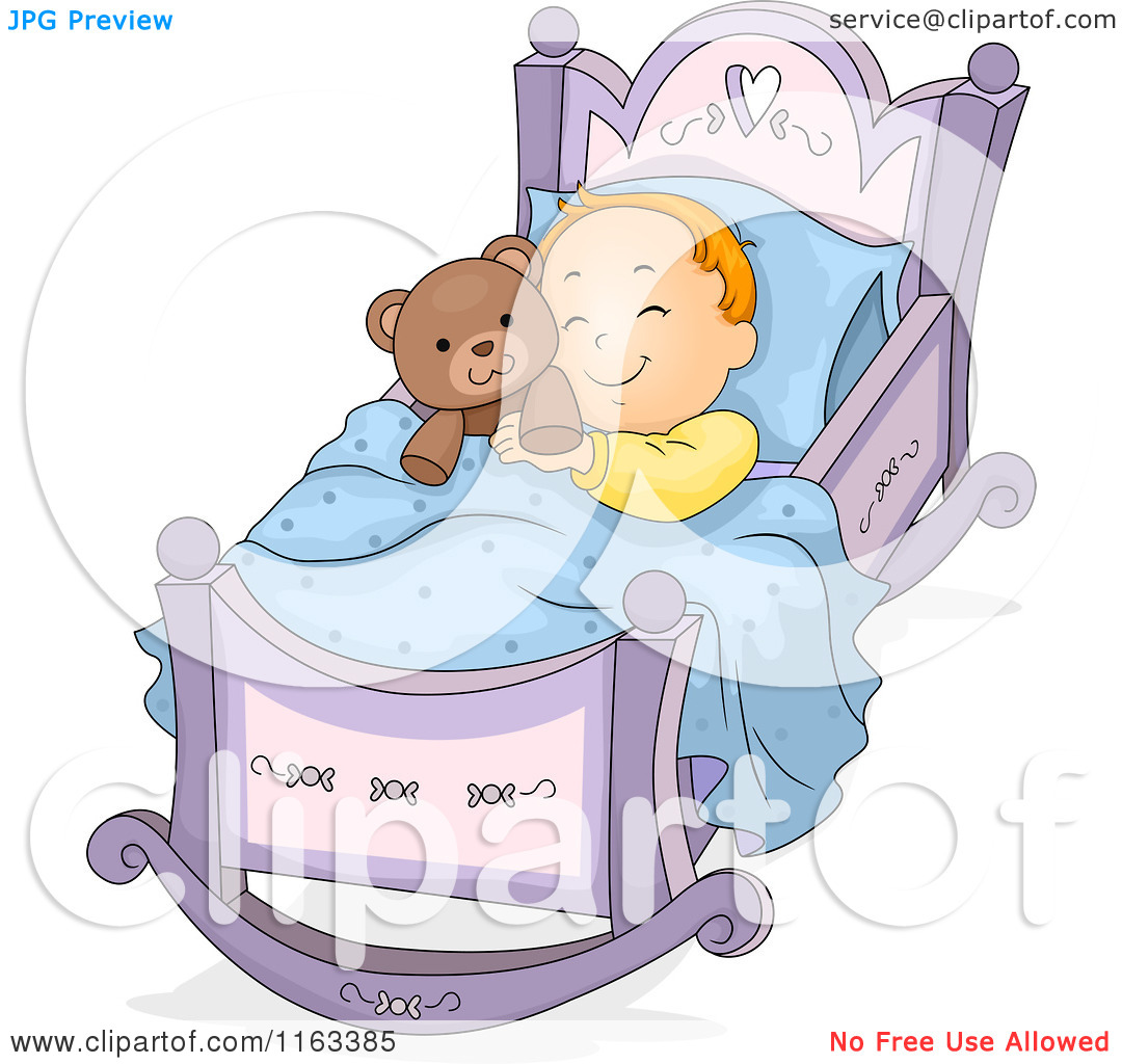Cartoon of a Baby Boy Sleeping in a Rocking Cradle with a Teddy.