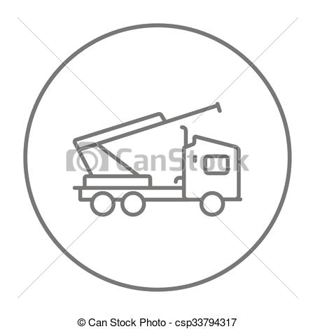 Vector Clip Art of Machine with a crane and cradles line icon.