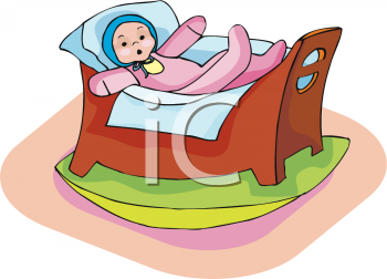 Clipart Picture Of A Baby Doll In A Cradle.