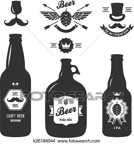 Set of vintage craft beer bottles brewery badges Clipart.
