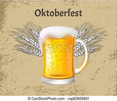 Oktoberfest Poster Craft Beer with Foam, Glass Mug.