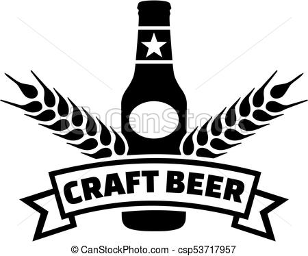 Craft beer with ribbon and wheat.