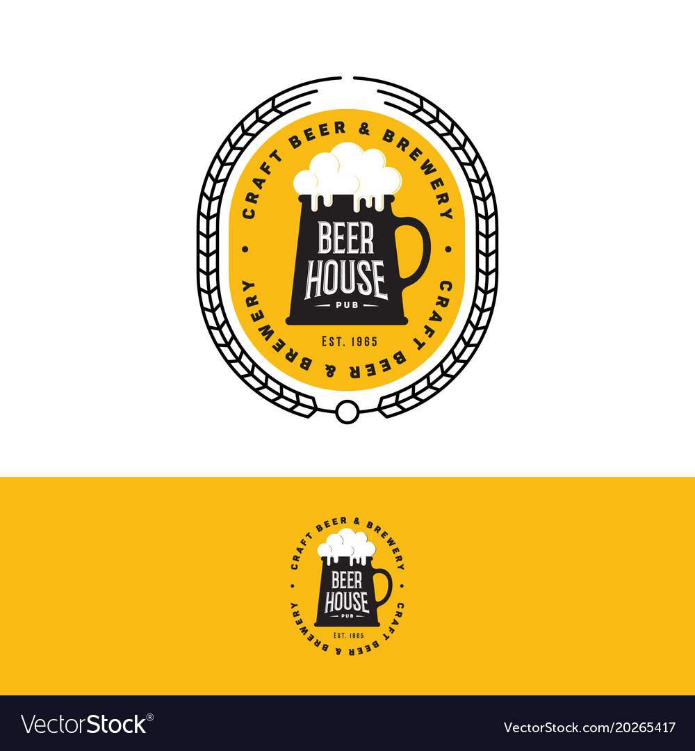 Craft beer logo brewery emblem yellow.