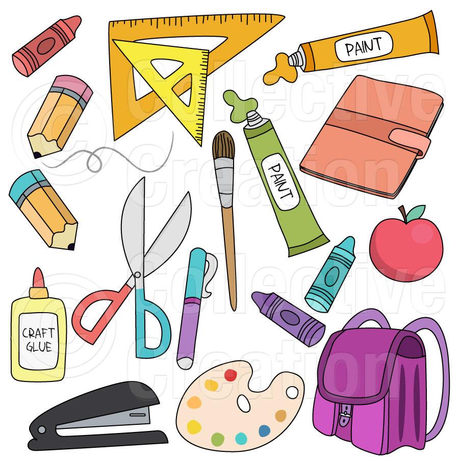 Classroom supplies clipart.