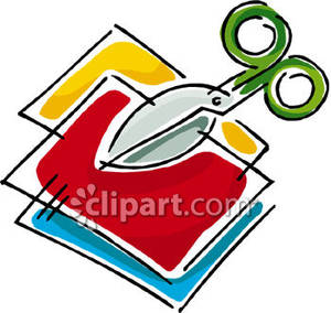 Scissors And Craft Paper Royalty Free Clipart Picture 081130