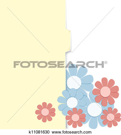 Clipart of Folder with paper crafted flowers k11081630.