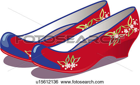 Clip Art of object, rubber shoes, decorations, ornaments, crafted.