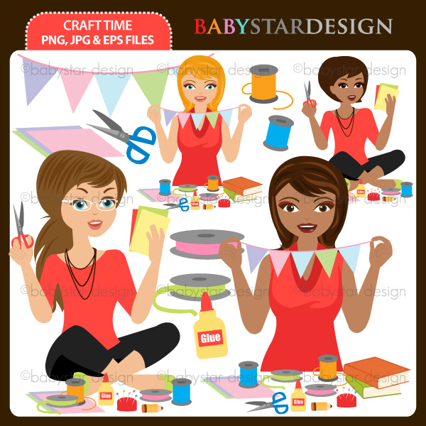 Woman crafting clipart.
