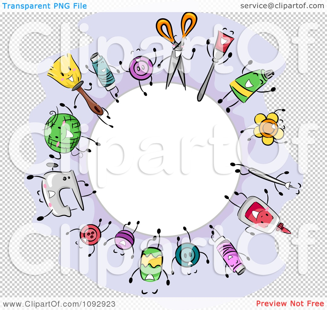 Clipart Round Fame Of Crafting Items.