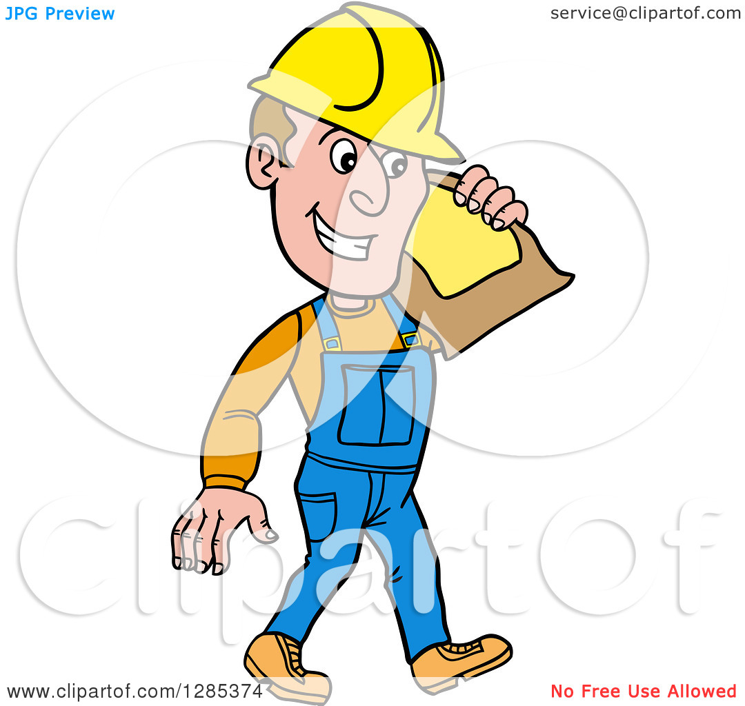 Clipart of a Cartoon Caucasian Male Craftsman Contractor Carrying.