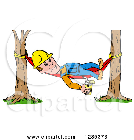 Clipart of a Cartoon Caucasian Male Craftsman Contractor Holding.