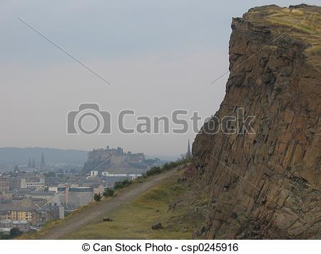 Stock Image of Salisbury Crags.