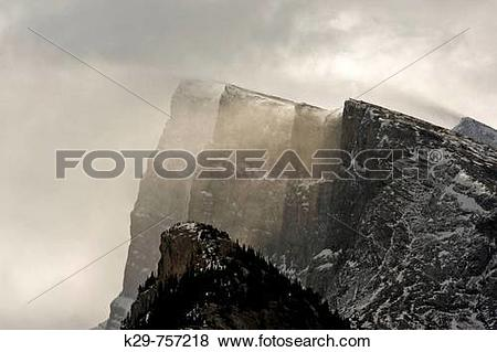 Pictures of Crags of Mt Rundle with windblown snow. Banff, Alberta.