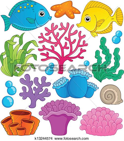 Coral reef theme collection 1 Clipart.