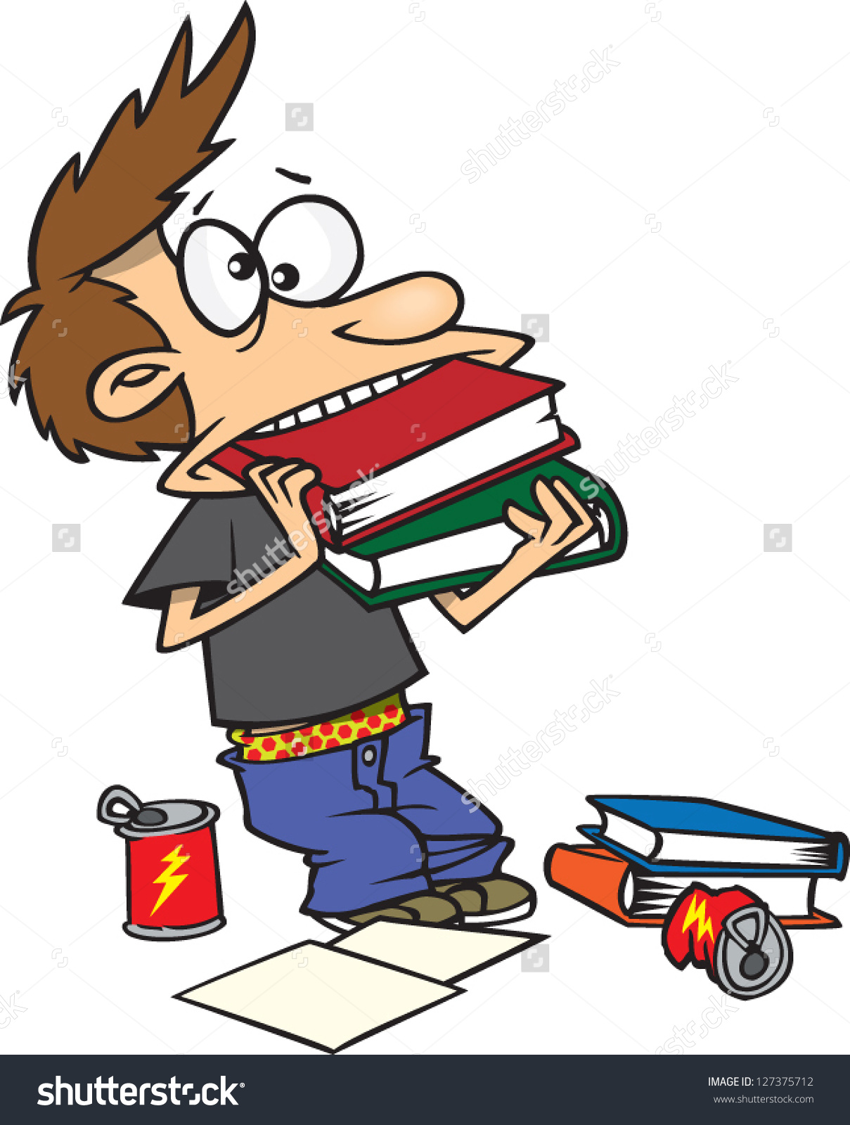 Vector Illustration Crazy Cartoon Boy Cramming Stock Vector.